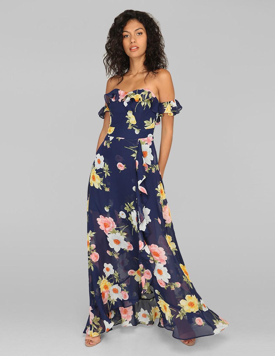 Vestido Casual Rue De La Paix Azul Marino Con Diseño Floral