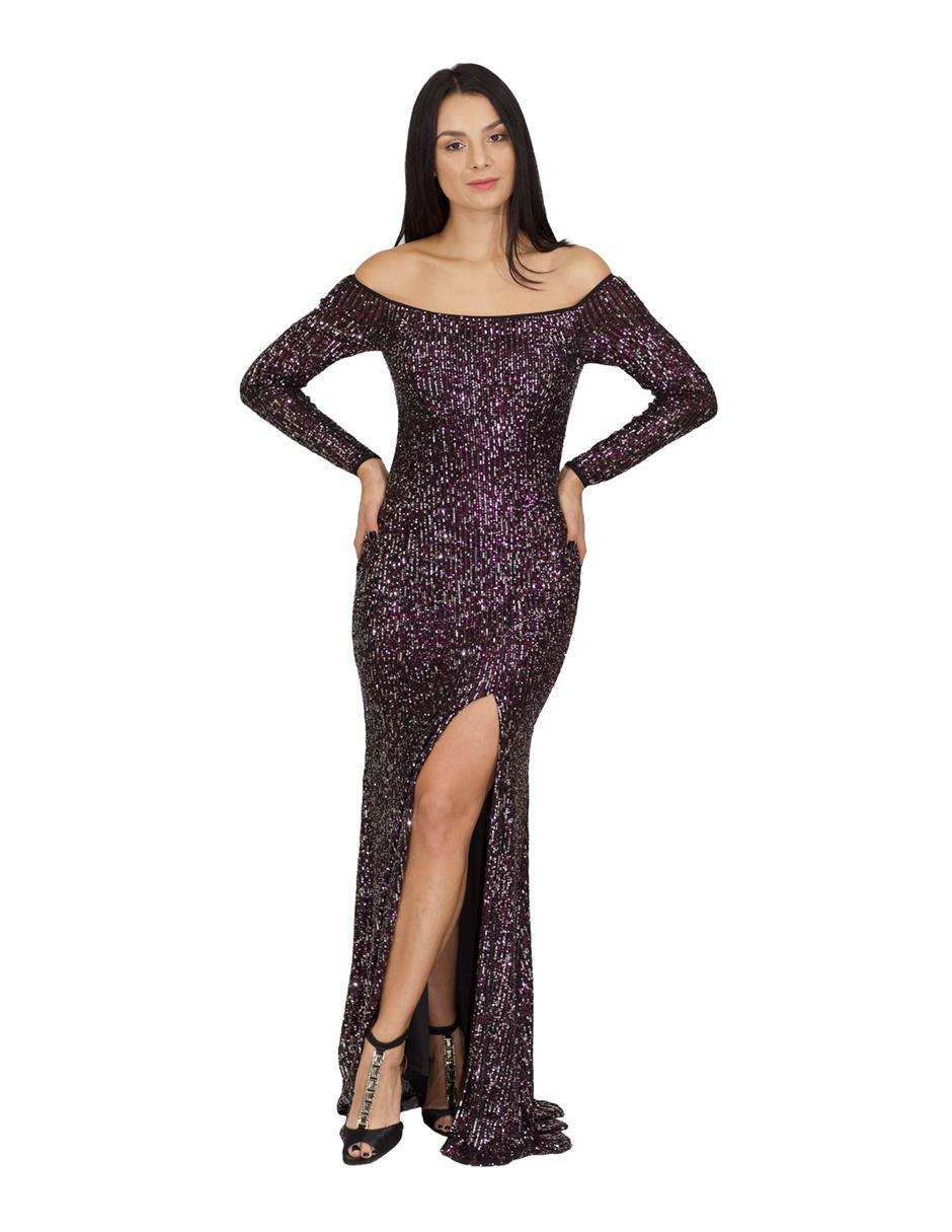 Vestido De Noche Ema Valdemossa Morado Uva Texturizado