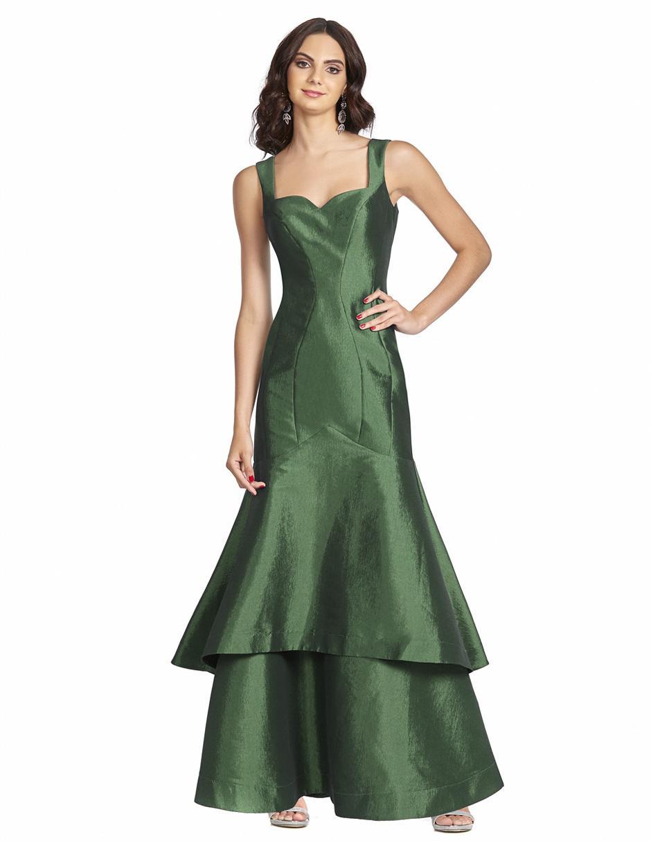Vestido De Fiesta Brazzi J Verde Botella